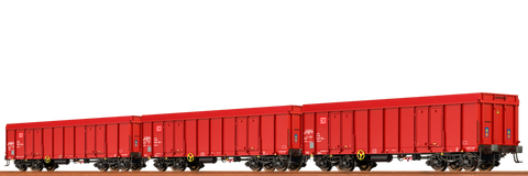 Brawa 48504 Open Freight Cars Ealos DB AG set of 3