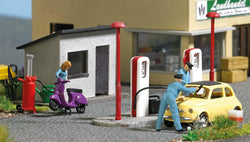 Busch 7832 Action Set: Gas Station with scooter