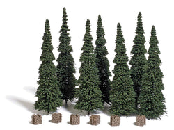Busch 9755 7 Fir trees with woodpiles