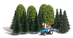 Busch 9777 OO/HO Fir trees, deciduous trees and tractor