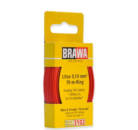Brawa 3102 Wire 0 14 mm red