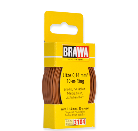 Brawa 3104 Wire 0 14 mm brown