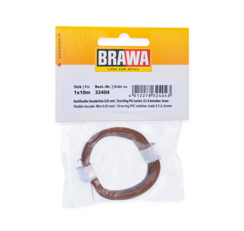 Brawa 32404 Flexible Decoder Wire 0 05 mm brown
