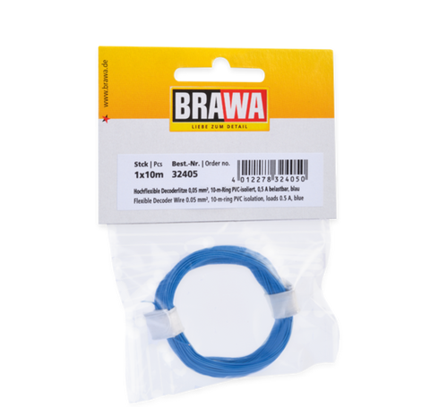 Brawa 32405 Flexible Decoder Wire 0 05 mm blue