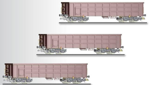 Tillig 1677 Freight car set of the DB AG with three different open ca