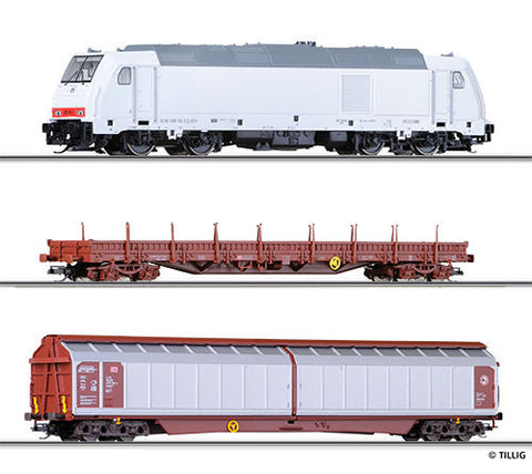 Tillig 1424 Freight car set for beginners with bedding track of the D