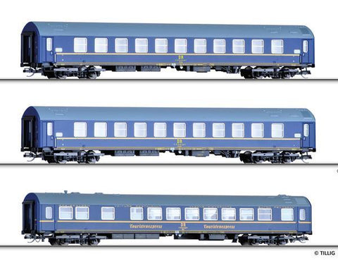 Tillig 1723 Passenger coach set Tourex 3 of the DR with two sleeping