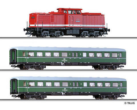 Tillig 1425 Passenger coach set for beginners with advanced track ova
