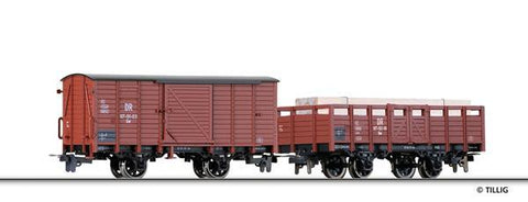 Tillig 5972 Freight car set of the DR with one box car Gw and one ope