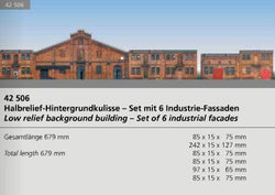 Auhagen 42506 HO set of 6 industrial Half relief facades background