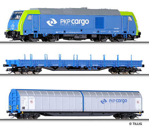 Tillig 1432 Freight car set for beginners with bedding track of the P