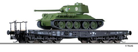Tillig 15620 Flat car Px of the CSD with tank T34/85 Ep. III