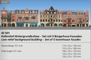 Auhagen 42501 HO set of 5 town house low relief background facades