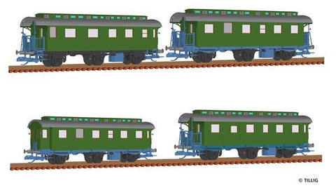 Tillig 1728 Passenger coach set of the DB with four passenger coaches
