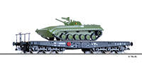 Tillig 15623 Flat car Salmmp of the DR with tank BMP 1 Ep. IV