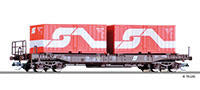Tillig 18153 Pocket wagon Sdgkms of the ÖBB with two 20 container Ep.