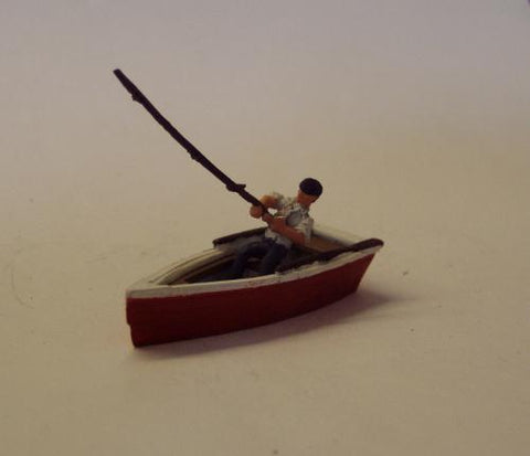Man Fishing In Row Boat - OO Gauge