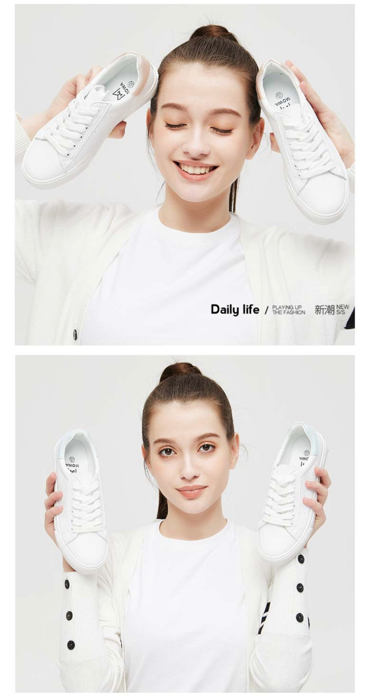 Mowa Daily Life White Sneakers for Women