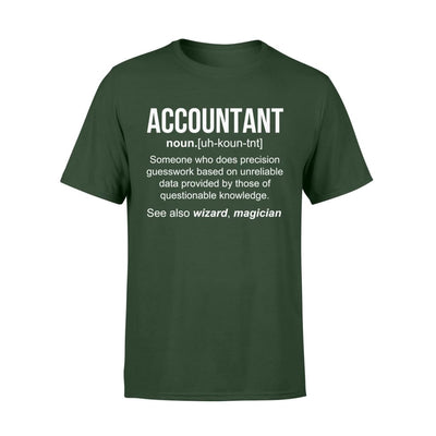 Accountant Definition Funny Noun Meaning Job Title Wizard Magician Christmas Gift - Standard T-shirt - S / Forest