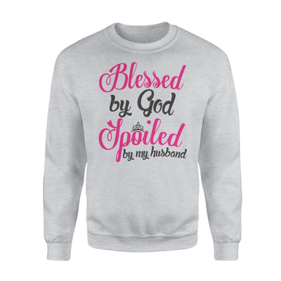 Blessed by god spoiled my husband - Standard Fleece Sweatshirt - S / Grey
