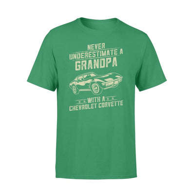 Chevrolet Corvette Lover Gift - Never Underestimate A Grandpa Old Man With Vintage Awesome Cars - Premium T-shirt - S / Kelly