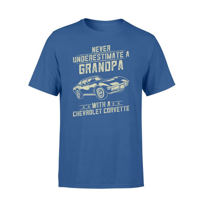 Chevrolet Corvette Lover Gift - Never Underestimate A Grandpa Old Man With Vintage Awesome Cars - Premium T-shirt - S / Royal