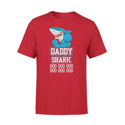 Dad Father Daddy Shark Doo Gift for on Fathers Day 2020 - Premium Tee - XS / Red
