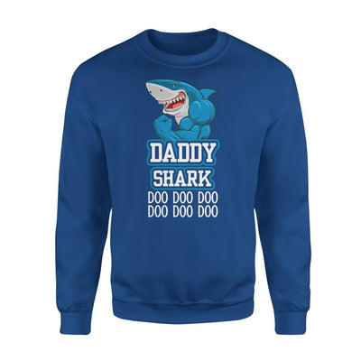 Dad Father Daddy Shark Doo Gift for on Fathers Day 2020 - Standard Fleece Sweatshirt - S / Royal