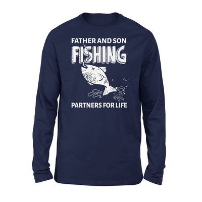 Father And Son Fishing Partners For Life Dad Christmas Gift - Standard Long Sleeve - S / Navy