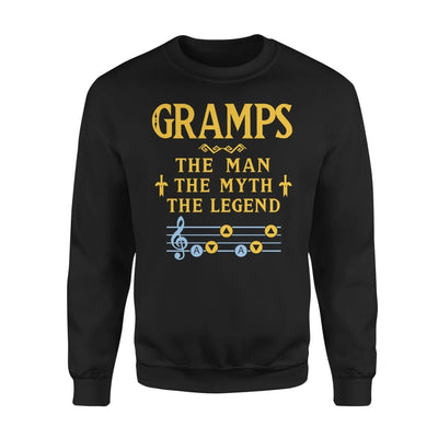 Gramps The Man Myth and Legend - Gaming Dad Grandpa Fathers Day Gift For - Standard Fleece Sweatshirt - S / Black