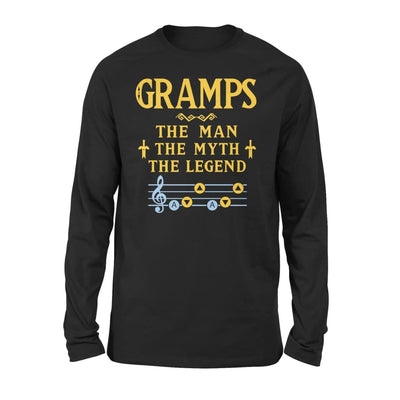 Gramps The Man Myth and Legend - Gaming Dad Grandpa Fathers Day Gift For - Standard Long Sleeve - S / Black