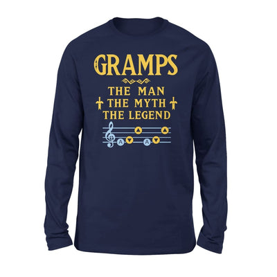 Gramps The Man Myth and Legend - Gaming Dad Grandpa Fathers Day Gift For - Standard Long Sleeve - S / Navy
