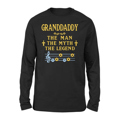 Granddaddy The Man Myth and Legend - Gaming Dad Grandpa Fathers Day Gift For - Standard Long Sleeve - S / Black
