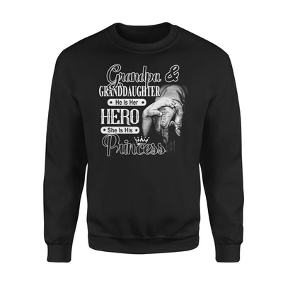 Grandpa and Granddaughter He is Her Hero She His Princess - Standard Fleece Sweatshirt - S / Black