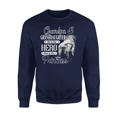 Grandpa and Granddaughter He is Her Hero She His Princess - Standard Fleece Sweatshirt - S / Navy