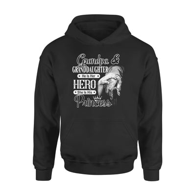 Grandpa and Granddaughter He is Her Hero She His Princess - Standard Hoodie - S / Black