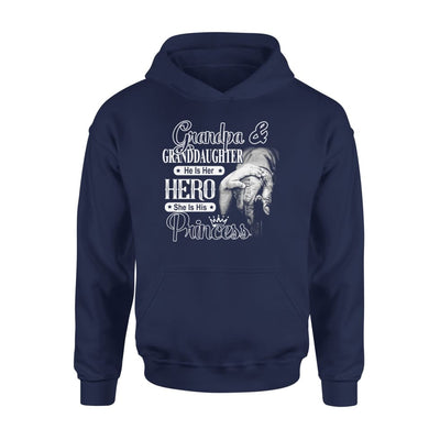 Grandpa and Granddaughter He is Her Hero She His Princess - Standard Hoodie - S / Navy