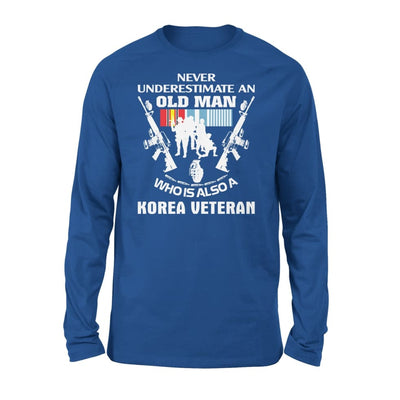 Korean Veteran Gift Never Underestimate An Old Men Who Also Is A Koren - Standard Long Sleeve - S / Royal