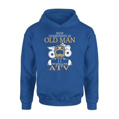 Never Underestimate An Old Man With ATV All Terrain Vehicle Fans Gift For Grandpa Dad Father - Standard Hoodie - S / Royal