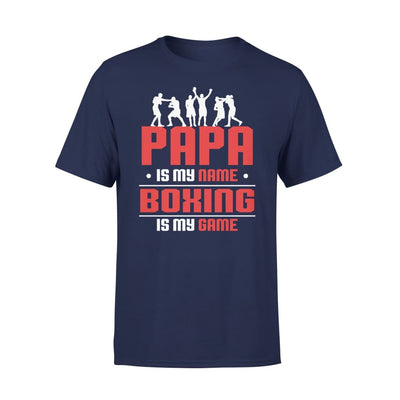 Papa Is My Name boxing Game - Gift for Grandpa Who Love Boxing - Standard Tee - S / Navy