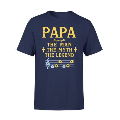 Papa The Man Myth and Legend - Gaming Dad Grandpa Fathers Day Gift For - Premium Tee - XS / Navy