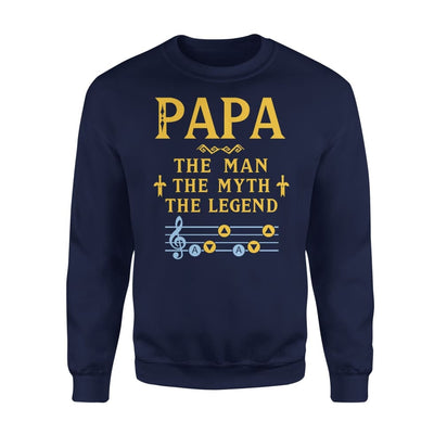 Papa The Man Myth and Legend - Gaming Dad Grandpa Fathers Day Gift For - Standard Fleece Sweatshirt - S / Navy