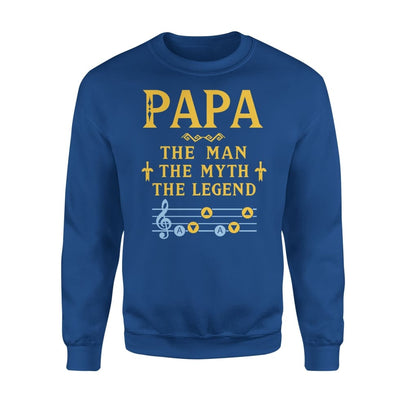 Papa The Man Myth and Legend - Gaming Dad Grandpa Fathers Day Gift For - Standard Fleece Sweatshirt - S / Royal