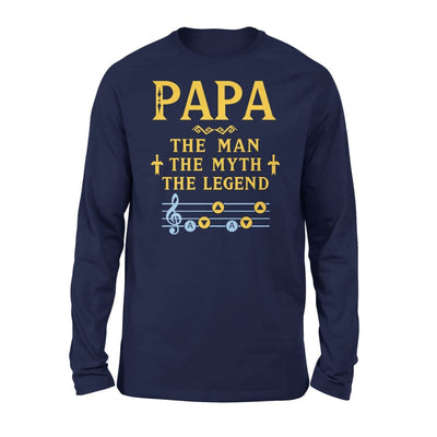 Papa The Man Myth and Legend - Gaming Dad Grandpa Fathers Day Gift For - Standard Long Sleeve - S / Navy