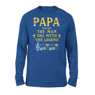 Papa The Man Myth and Legend - Gaming Dad Grandpa Fathers Day Gift For - Standard Long Sleeve - S / Royal