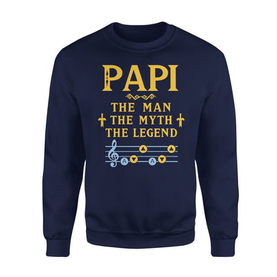 Papi The Man Myth and Legend - Gaming Dad Grandpa Fathers Day Gift For - Standard Fleece Sweatshirt - S / Navy