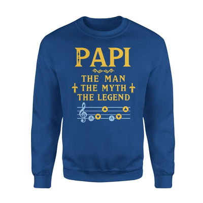 Papi The Man Myth and Legend - Gaming Dad Grandpa Fathers Day Gift For - Standard Fleece Sweatshirt - S / Royal