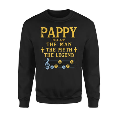 Pappy The Man Myth and Legend - Gaming Dad Grandpa Fathers Day Gift For - Standard Fleece Sweatshirt - S / Black