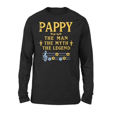 Pappy The Man Myth and Legend - Gaming Dad Grandpa Fathers Day Gift For - Standard Long Sleeve - S / Black
