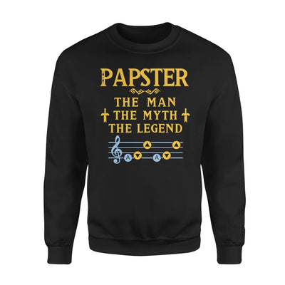 Papster The Man Myth and Legend - Gaming Dad Grandpa Fathers Day Gift For - Standard Fleece Sweatshirt - S / Black